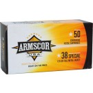 (812285020051) ARMSCOR AMMO .38 SPECIAL 125GR. FMJ 50-PACK MADE IN USA