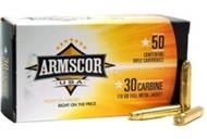 (812285020112) ARMSCOR AMMO .30 CARBINE 110GR FMJ 50 PACK MADE IN USA